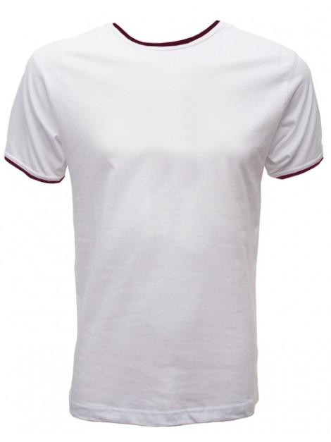 Camiseta cuello costalero ribete burdeos